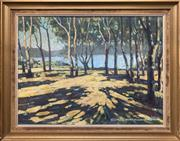 Sale 8759 - Lot 2030 - Stan Clements Lake View Through the Trees oil on canvas on board, 56 x 69xm, signed lower right -