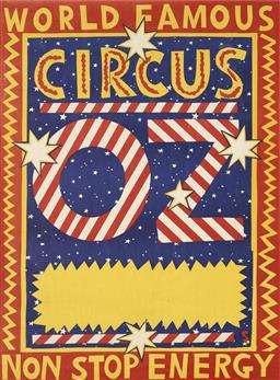 Sale 9157S - Lot 5017 - MARTIN SHARP (1942 - 2013) World Famous - Circus OZ - Non. Stop. Energy screenprint (unframed) 93.5 x 69 cm signed in print