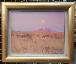 Sale 9155 - Lot 2014 - David Naseby  Sunset & Landscape oil on canvas, frame: 39 x 47 cm, signed lower right -