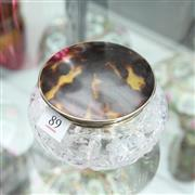 Sale 8336 - Lot 89 - English Hallmarked Sterling Silver & Tortoise Shell Lidded Crystal Container