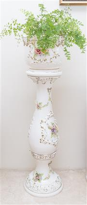 Sale 8369A - Lot 49 - An Italian Capodimonte floral encrusted jardiniere and stand, total H 100cm