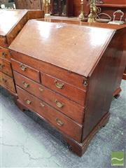 Sale 8444 - Lot 1077 - George III Oak Provincial Bureau, enclosing a pigeon hole interior with drawers & concealed well, above two short & two long drawers