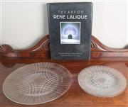 Sale 8470H - Lot 13 - A circular Lalique glass platter with three matching cake plates, together with a book The Art of Rene Lalique by Bayer & Waller