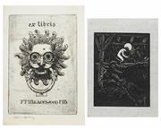 Sale 8475A - Lot 5057 - Lionel Lindsay ( (1874 - 1961) (2 works) - Bookplates for F.M Blackwood; Untitled (Midnight) 11.5 x 7.5cm; 8.5 x 6.5cm