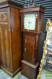 Sale 8500 - Lot 1020 - Regency Mahogany Longcase Clock, with broken pediment, painted dial with fruit, signed Thomas Gaskell, Knutsford, having subsidiary...
