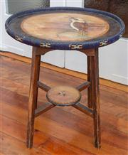 Sale 8590A - Lot 32 - An Australiana occasional table decorated with Kookaburras on stretcher base, H 54 x D 48cm