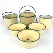 Sale 8607R - Lot 78 - Vintage Enamel Kitchenwares (H: 19cm)