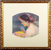Sale 8882H - Lot 45 - After Thea Proctor - Edwardian Lady Gazing in to Lantern image size 32 x 34cm
