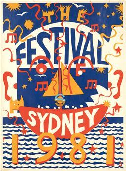 Sale 9157S - Lot 5015 - MARTIN SHARP (1942 - 2013) The Festival of Sydney, 1981 screenprint (unframed) (AF) 102 x 76 cm signed in print