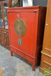 Sale 8515 - Lot 1009 - Oriental Red Lacquered Fitted Cabinet with Two Doors & Drawers to Base (A/F)