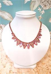 Sale 8577 - Lot 27 - A 1950s vintage pink borealis diamante & rhinestone necklace featuring a pink diamante clasp - Condition: Excellent - Measurements:...