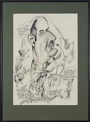 Sale 8762 - Lot 2066 - Tony Rafty (1915 - 2015) - David Koch at the Inch Club Sydney, 2000 48 x 36.5cm