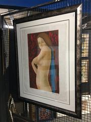 Sale 8754 - Lot 2039 - Margaret Bamford - The Blue Scarf colour lithograph ed. 84/100, 103 x 83cm, signed lower right