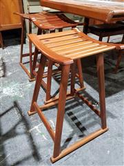 Sale 8765 - Lot 1090 - Set of 3 Teak Stools by Nick Hill