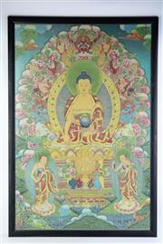 Sale 8802 - Lot 311 - Framed Chinese Jhanka embroidery, H; 97cm, W; 65cm