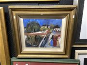 Sale 8878 - Lot 2086 - Blundell - Gathering on the Bridge, oil, details verso on card, 33.5x40.5cm