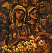 Sale 9001 - Lot 558 - Roger San Miguel (1940 - ) - Young Girls with Flowers 89.5 x 89.5 cm (frame: 102 x 102 x 4 cm)
