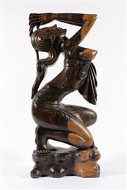 Sale 9010D - Lot 793 - Carved Indonesian Praying Female Figure (h:60cm) - arm repaired