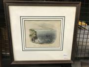 Sale 9024 - Lot 2034 - Hand coloured engraving, Entrance to Sydney Harbour, North Head seen from the flagstaff, 37 x 39cm (frame)