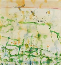 Sale 9110A - Lot 5003 - John Olsen (1928 - ) Lily Trotters watercolour and pastel 98 x 92.5 cm (frame: 149 x 138 x 4 cm) signed and titled lower right