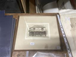 Sale 9111 - Lot 2077 - Cecil Forbes The Old Curiosity Shop drypoint etching 27 x 30cm (frame) signed -