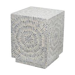 Sale 9140F - Lot 79 - A starburst patterned and Capiz inlay square accent stool with rich geometry. Dimensions: W35 x D35 x H45 cm