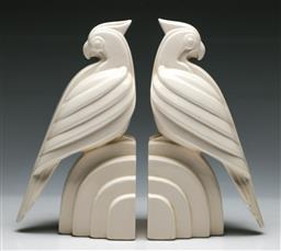Sale 9148 - Lot 92 - Pair of Japanese ceramic bird form bookends (H:20cm)
