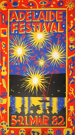 Sale 9157S - Lot 5020 - MARTIN SHARP (1942 - 2013) Adelaide Festival, 1982 screenprint (unframed) 150 x 86.5 cm signed in print