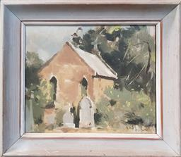 Sale 9155 - Lot 2002 - Molly Johnson  Parramatta Cemetery, oil on board, frame: 36 x 40 cm, signed lower right -