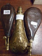Sale 7905A - Lot 1629 - C19th Brass Powder Flask & Two Leather Examples (3)