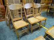 Sale 7943A - Lot 1503 - Set of 6 Spindle Back Dining Chairs with Rattan Seats