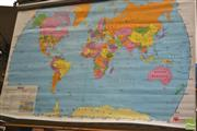Sale 8338 - Lot 1012 - Wall Mounted Retractable American Educational Maps of North America & The World