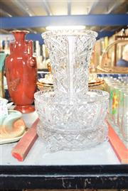 Sale 8396 - Lot 48 - Cut Crystal Vase With Matched Bowl & Other Glass Ware Incl. Amber