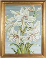 Sale 8470H - Lot 23 - M. Gillespie - Lilies oil on canvas