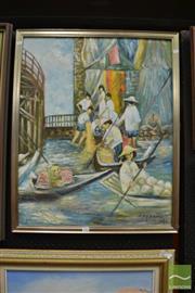 Sale 8487 - Lot 2008 - P. Perkal - Floating Markets, 1966 78.5 x 63.5cm