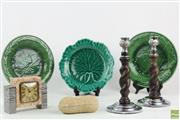 Sale 8568 - Lot 23 - Barley Twist Candlesticks Together with Ceramic Peanut, Leaf Dishes and Marble Clock