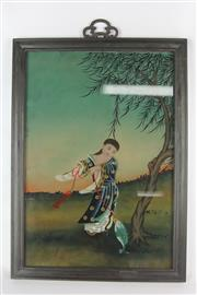 Sale 8612 - Lot 62 - Chinese Reverse Glass Painting of A Lady and Kite