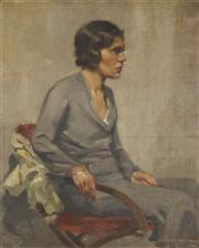 Sale 8732 - Lot 505 - Rupert Woodman - Seated Woman, 1936 42 x 34.5cm