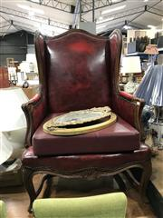 Sale 8868 - Lot 1161 - Louis Xv Style Wingback Armchair, upholstered in red vinyl & with later cushion, on cabriole legs