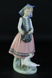 Sale 8994 - Lot 96 - A Lladro figure of a girl and swan (H26cm, chipped pinky)