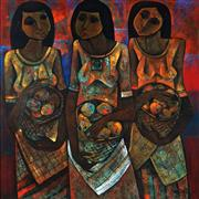 Sale 9013 - Lot 501 - Roger San Miguel (1940 - ) - Three Women with Fruit Baskets 89.5 x 89.5 cm (frame: 102 x 102 x 4 cm)