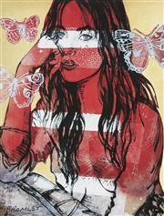 Sale 9081A - Lot 5033 - David Bromley (1960 - ) - Zippora with Butterflies 74.5 x 55 cm (frame: 104 x 86 x 3 cm)