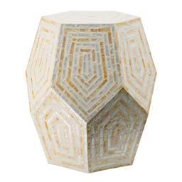 Sale 9140F - Lot 80 - A hexagonal capiz stool with multi-coloured, multi-faceted frame. Dimensions: W46 x D46 x H53 cm