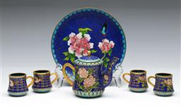 Sale 9144 - Lot 36 - Miniature cloisonne tea set inc cups, teapot (H:7cm) and dish (Dia:12cm)