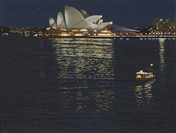 Sale 9195 - Lot 505 - DAVID ROSE (1936 - 2006) Sydney by Night II, 1999 screenprint, ed. 41/90 29 x 37.5 cm (frame: 49 x 57 x 3 cm) signed and dated lower...
