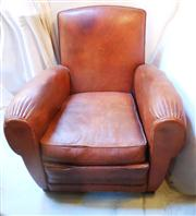 Sale 8362A - Lot 37 - A French Art Deco leather club arm chair, some small tears at creases, size 83 x 85 x 80 cm