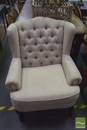Sale 8390 - Lot 1129 - Linen Upholstered Wing-Back Armchair