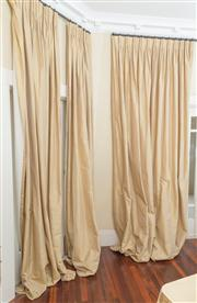 Sale 8470H - Lot 93 - Three pairs of gold fabric curtains, lined, each drop 300cm, 2 x curtains with 300cm span, 4 x curtains with 200cm span, approx, in...