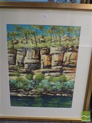 Sale 8513 - Lot 2026 - Sergio Sill - Killarney Gorge Cliff 74.5 x 54.5cm (frame size 105 x 87.5cm)