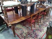 Sale 8554 - Lot 1070 - Extension Dining Table with Two Leaves & Turned Legs (H 77 x L 275 x W 106cm - Leaf Size 40cm)